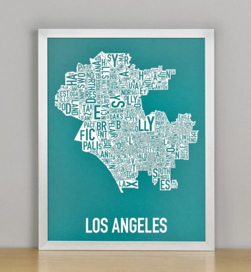 """Framed Los Angeles Typographic Neighborhood Map Screenprint, Teal & White, 11"""" x 14"""" in Silver Frame"""