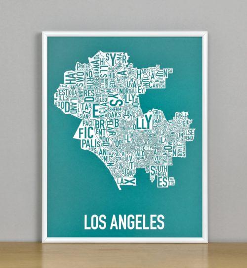 "Framed Los Angeles Typographic Neighborhood Map Screenprint, Teal & White, 11"" x 14"" in White Metal Frame"