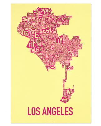 "Los Angeles Neighborhood Map Screenprint, Yellow & Pink, 20"" x 30"""