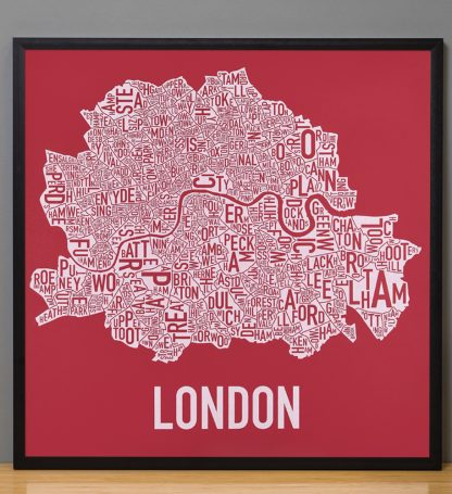 "Framed Central London Neighbourhood Poster, Red & White, 20"" x 20"" in Black Frame"