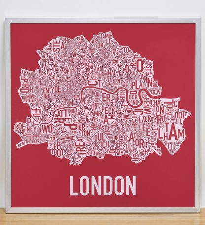 "Framed Central London Neighbourhood Poster, Red & White, 20"" x 20"" in Silver Frame"