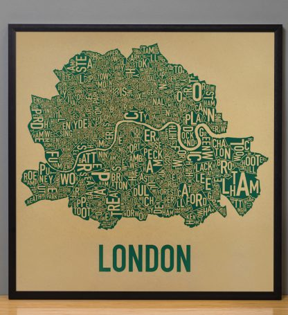"Framed Central London Neighbourhood Poster, Tan & Green, 20"" x 20"" in Black Frame"