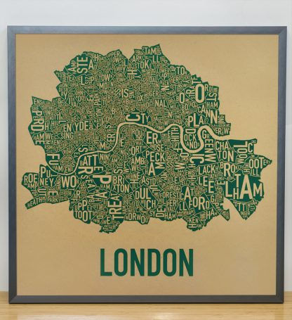 "Framed Central London Neighbourhood Poster, Tan & Green, 20"" x 20"" in Steel Grey Frame"