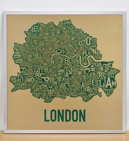 "Framed Central London Neighbourhood Poster, Tan & Green, 20"" x 20"" in Silver Frame"