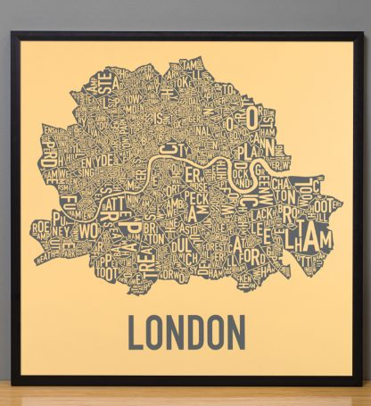 "Framed Central London Neighbourhood Poster, Yellow & Grey, 20"" x 20"" in Black Frame"