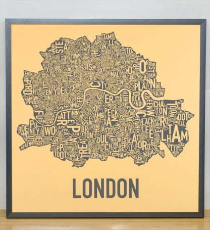 "Framed Central London Neighbourhood Poster, Yellow & Grey, 20"" x 20"" in Steel Grey Frame"