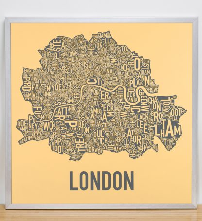"Framed Central London Neighbourhood Poster, Yellow & Grey, 20"" x 20"" in Silver Frame"