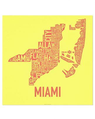"Miami Neighborhood Map Print, Yellow & Coral silkscreen, 18"" x 18"""