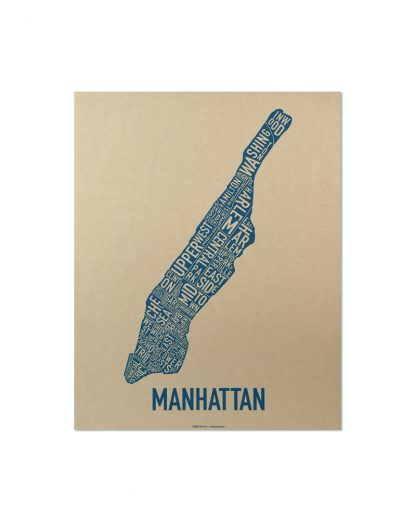 "Manhattan Neighborhood Map, Gold & Blue Screenprint, 11"" x 14"""