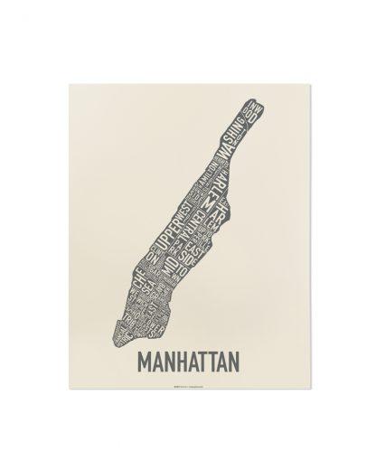 "Manhattan Neighborhood Map Screenprint, Ivory & Grey, 11"" x 14"""
