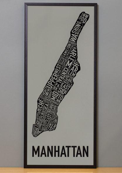 "Framed Manhattan Neighborhood Map Screenprint, Grey & Black, 13"" x 30"" in Black Frame"