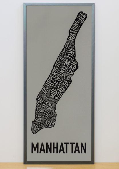 "Framed Manhattan Neighborhood Map Screenprint, Grey & Black, 13"" x 30"" in Steel Grey Frame"