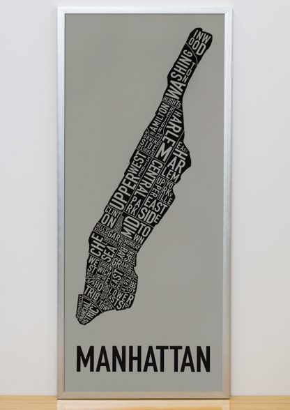 "Framed Manhattan Neighborhood Map Screenprint, Grey & Black, 13"" x 30"" in Silver Frame"