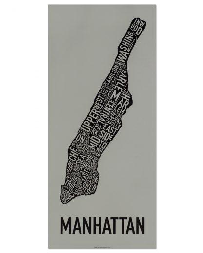 "Manhattan Neighborhood Map Screenprint, Grey & Black, 13"" x 30"""