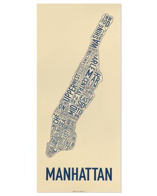 "Manhattan Neighborhood Map Screenprint, Tan & Navy, 13"" x 30"""
