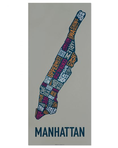 "Manhattan Neighborhood Map Screenprint, Grey Multi, 13"" x 30"""