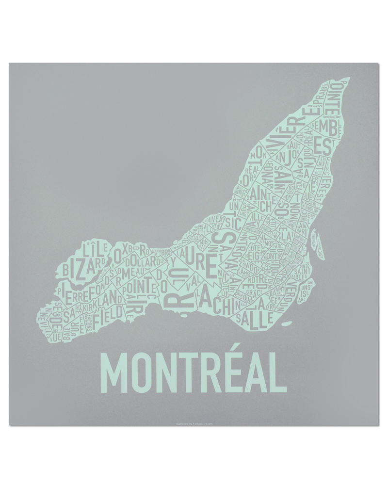 "Montreal Neighbourhoods Map, Grey & Light Green, 18"" x 18"""