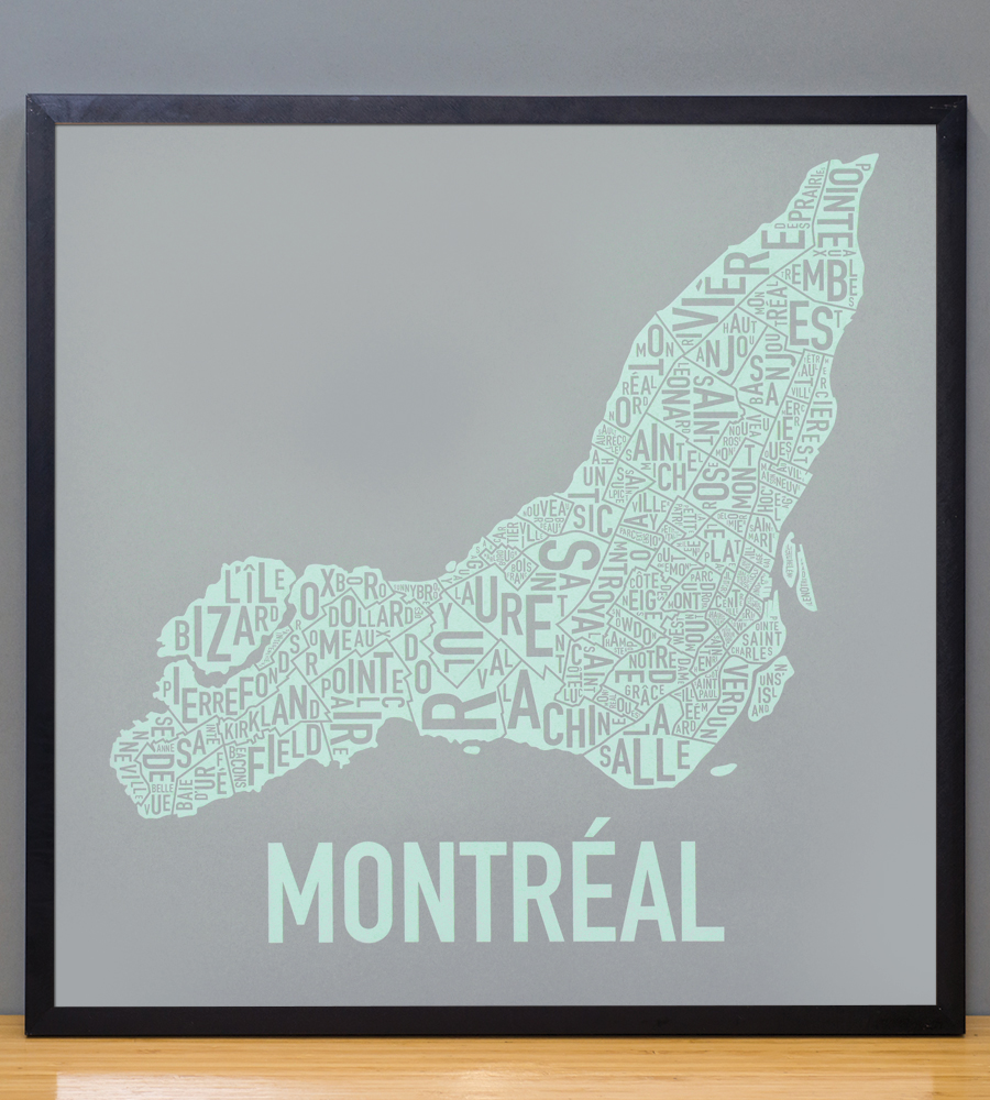 "Framed Montreal Neighbourhoods Map, Grey & Light Green, 18"" x 18"" in Black Frame"