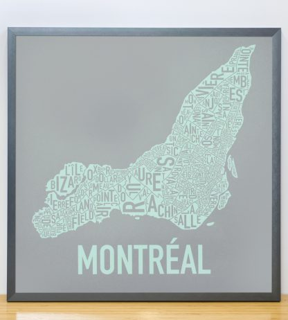 "Framed Montreal Neighbourhoods Map, Grey & Light Green, 18"" x 18"" in Steel Grey Frame"