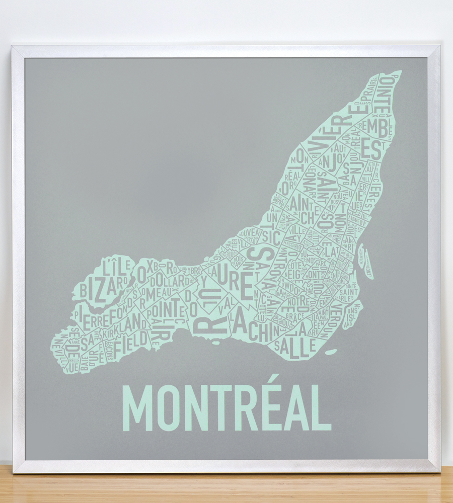 "Framed Montreal Neighbourhoods Map, Grey & Light Green, 18"" x 18"" in Silver Frame"