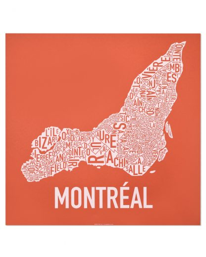 "Montreal Neighbourhoods Map, Orange & White, 18"" x 18"""