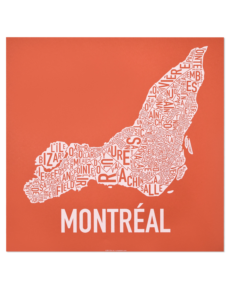 "Montreal Neighbourhoods Map, Orange & White, 18"" x 18"""