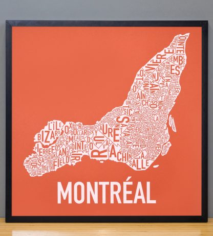 "Framed Montreal Neighbourhoods Map, Orange & White, 18"" x 18"" in Black Frame"