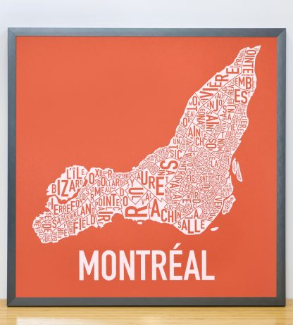 "Framed Montreal Neighbourhoods Map, Orange & White, 18"" x 18"" in Steel Grey Frame"