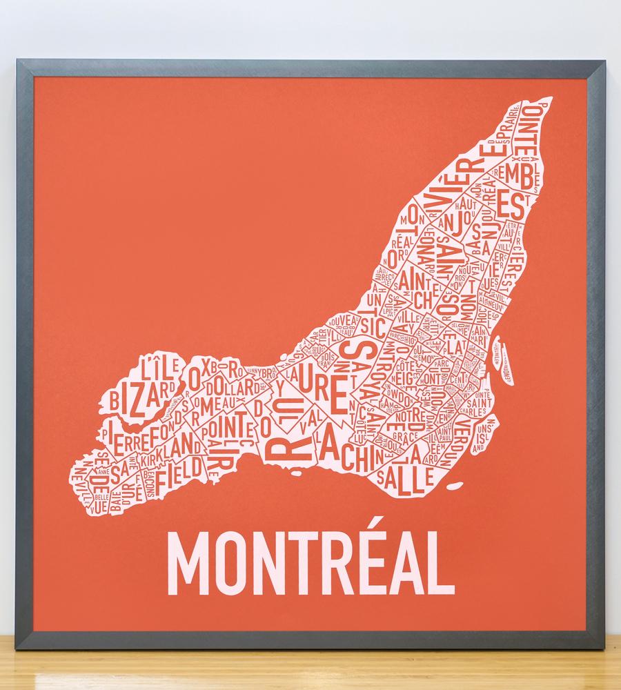 "Framed Montreal Neighbourhoods Map, Orange & White, 18"" x 18"" in Steel Grey Frame"