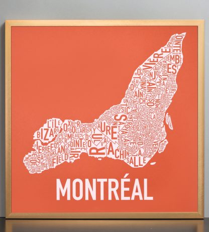 "Framed Montreal Neighbourhoods Map, Orange & White, 18"" x 18"" in Bronze Frame"