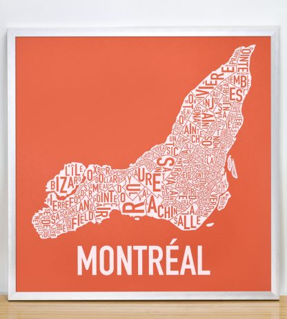"Framed Montreal Neighbourhoods Map, Orange & White, 18"" x 18"" in Silver Frame"