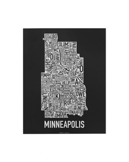 "Minneapolis Neighborhood Map, Black & White Screenprint, 11"" x 14"""