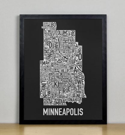 "Framed Minneapolis Neighborhood Map, Black & White Screenprint, 11"" x 14"" in Black Frame"