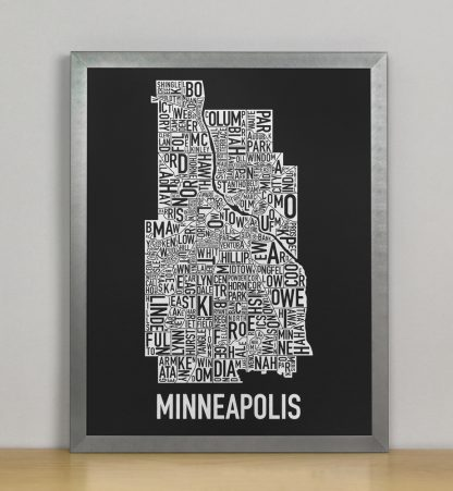 "Framed Minneapolis Neighborhood Map, Black & White Screenprint, 11"" x 14"" in Steel Grey Frame"
