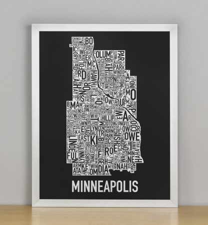 "Framed Minneapolis Neighborhood Map, Black & White Screenprint, 11"" x 14"" in Silver Frame"