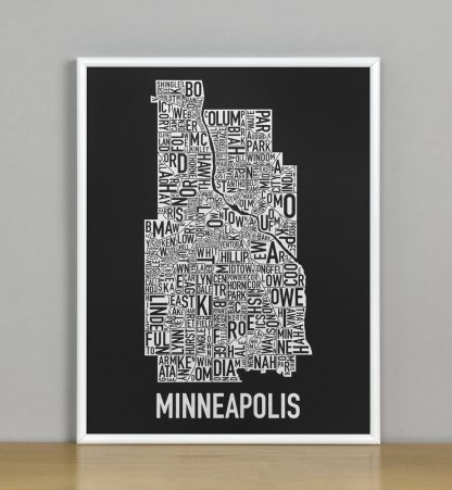 "Framed Minneapolis Neighborhood Map, Black & White Screenprint, 11"" x 14"" in White Metal Frame"