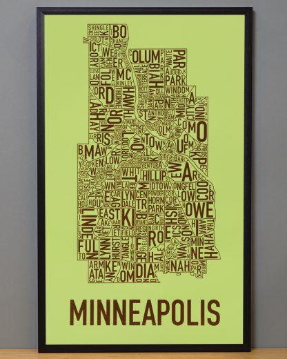"Framed Minneapolis Neighborhood Map Screenprint, Green & Brown, 16"" x 26"" in Black Frame"