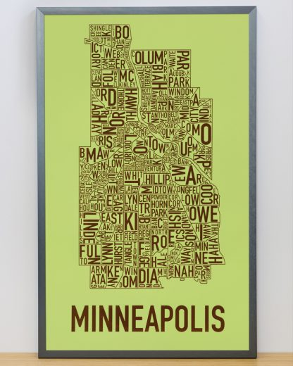 "Framed Minneapolis Neighborhood Map Screenprint, Green & Brown, 16"" x 26"" in Steel Grey Frame"