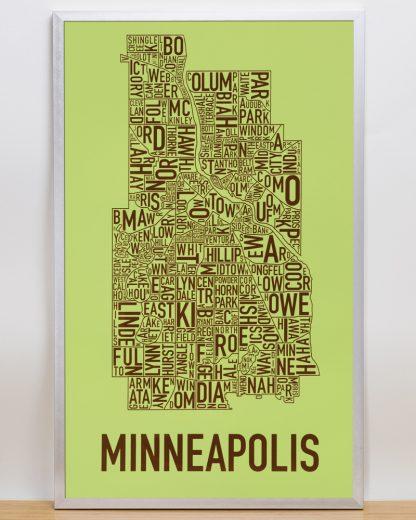 "Framed Minneapolis Neighborhood Map Screenprint, Green & Brown, 16"" x 26"" in Silver Frame"