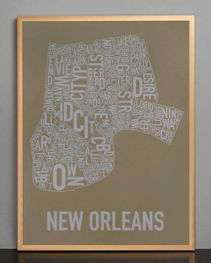 "Framed New Orleans Neighborhood Map Screenprint, Olive & Grey, 18"" x 24"" in Bronze Frame"