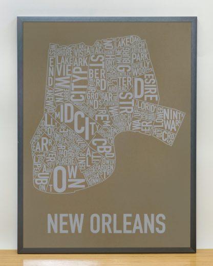 "Framed New Orleans Neighborhood Map Screenprint, Olive & Grey, 18"" x 24"" in Grey Frame"