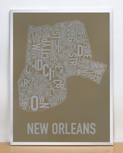 "Framed New Orleans Neighborhood Map Screenprint, Olive & Grey, 18"" x 24"" in Silver Frame"