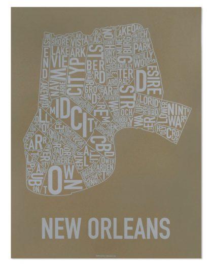 "New Orleans Neighborhood Map Screenprint, Olive & Grey, 18"" x 24"""