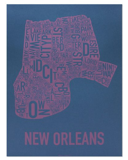 "New Orleans Neighborhood Map, Navy & Purple, 18"" x 24"""