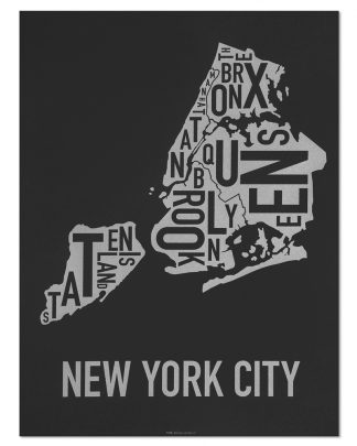 "New York City Boroughs Map Screenprint, Black & Silver, 18"" x 24"""