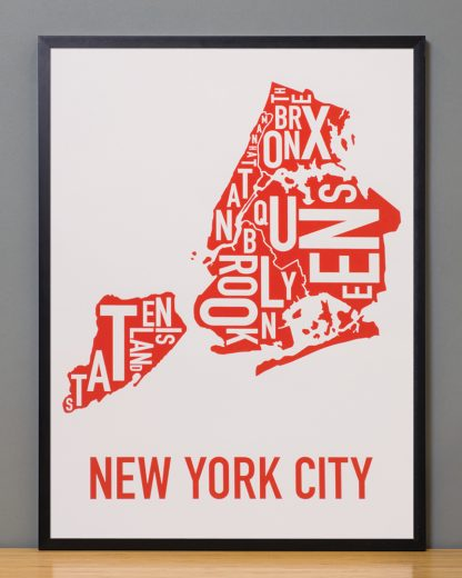 "Framed New York City Boroughs Map Screenprint, Grey & Red/Orange, 18"" x 24"" in Black Frame"