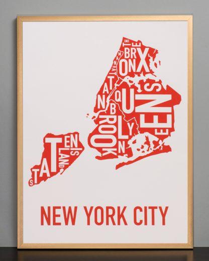"Framed New York City Boroughs Map Screenprint, Grey & Red/Orange, 18"" x 24"" in Bronze Frame"