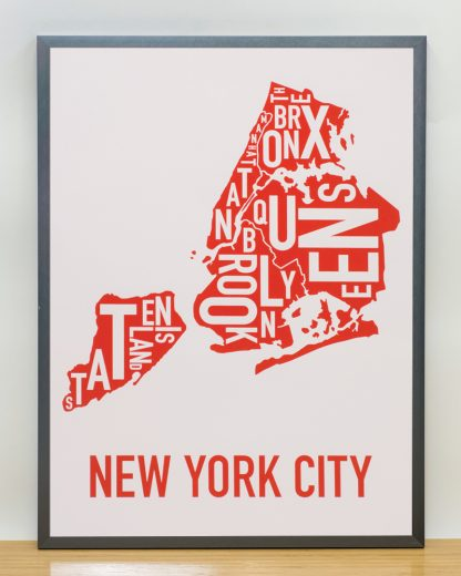 "Framed New York City Boroughs Map Screenprint, Grey & Red/Orange, 18"" x 24"" in Steel Grey Frame"