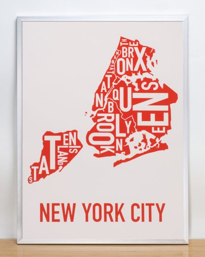 "Framed New York City Boroughs Map Screenprint, Grey & Red/Orange, 18"" x 24"" in Silver Frame"