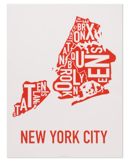 "New York City Boroughs Map Screenprint, Grey & Red/Orange, 18"" x 24"""